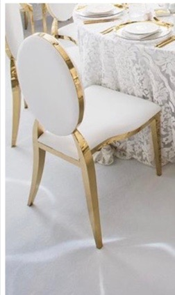 white & gold luxe chair