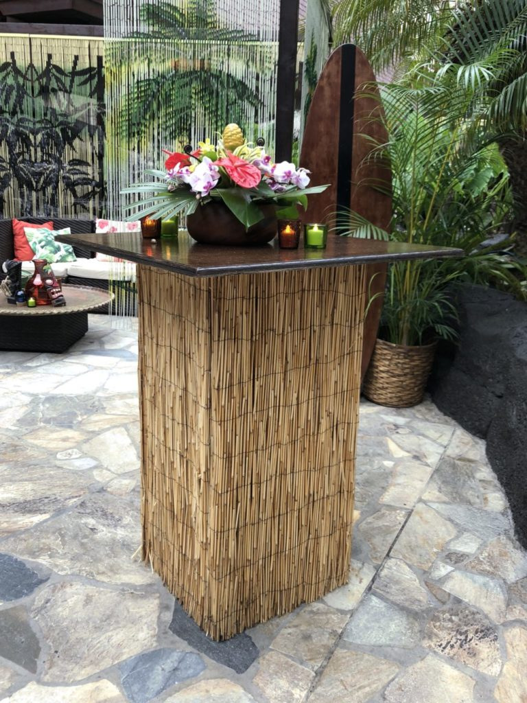 bamboo high top cocktail table