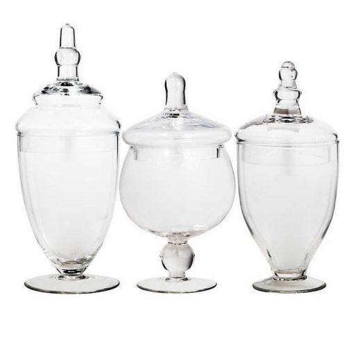 set of glass Apothecary Jars
