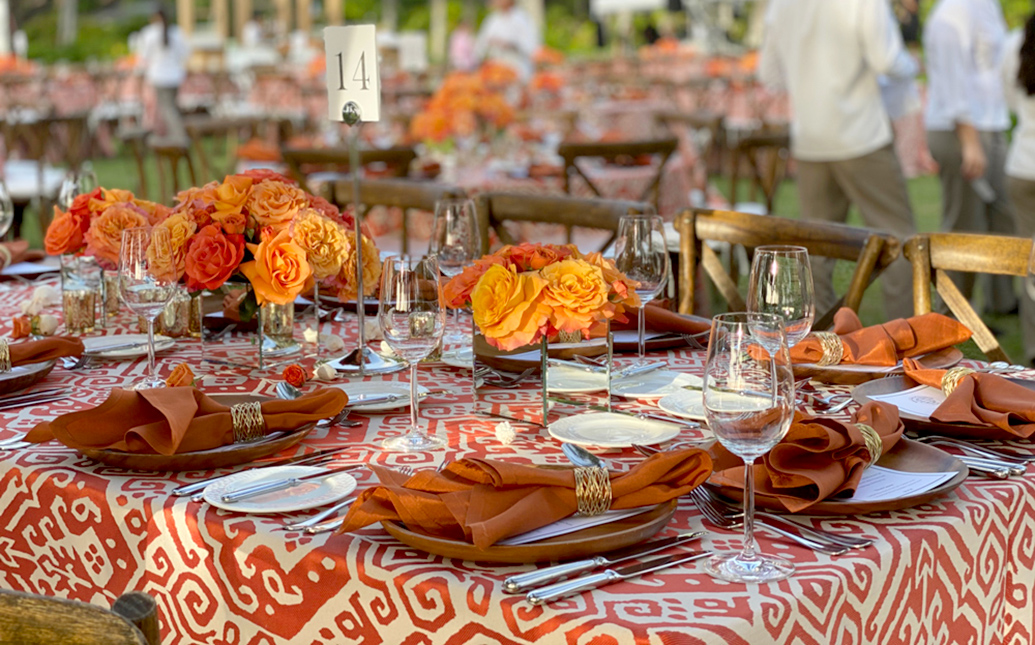Orange Tablescape set up for party