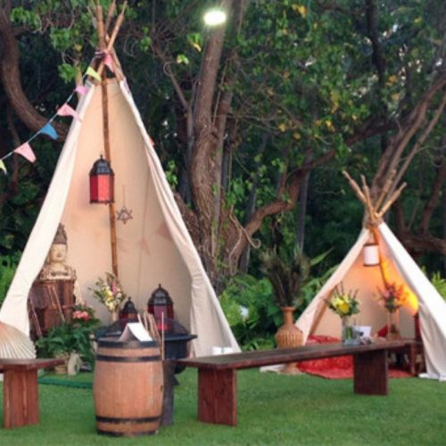 Tan cloth teepee