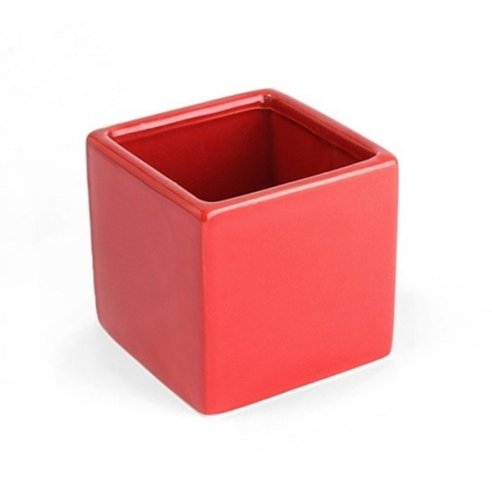 Vase Square Red Ceramic