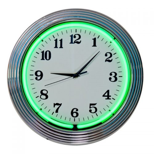 Wall Clock Neon Green and Chrome