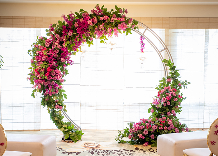 Metal arch with flowers
