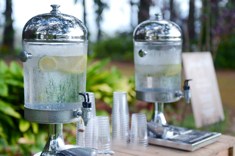 Clear water coolers for self serve