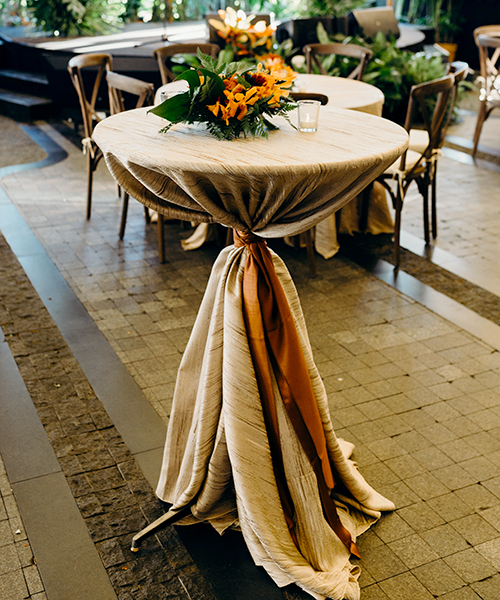 Cocktail table with draped linens