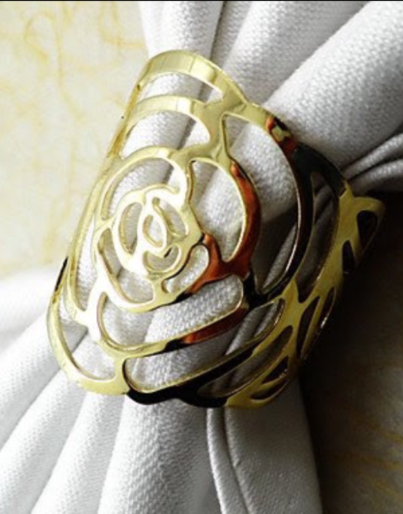 gold rose napkin rings