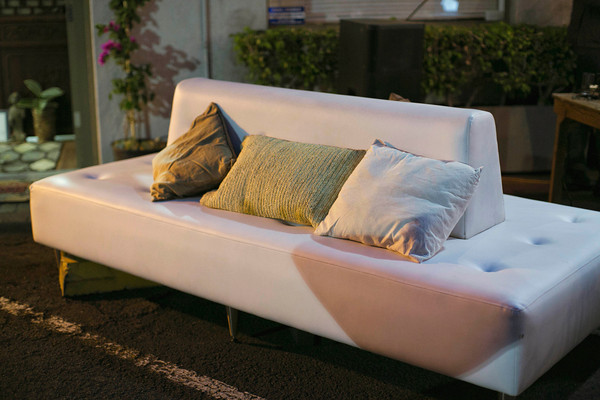 Leatherette Ottoman + assorted pillows
