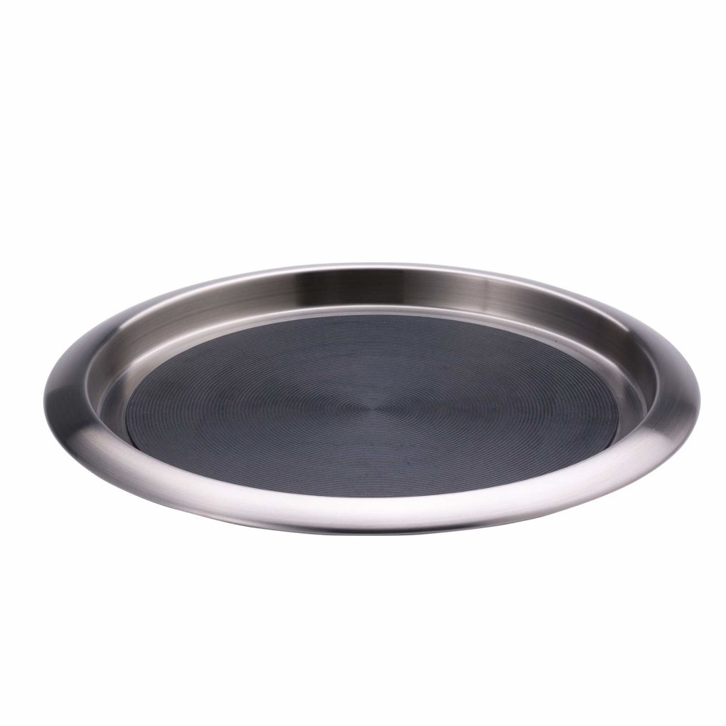 Silver Non-Slip Round Tray with Silicone Grip