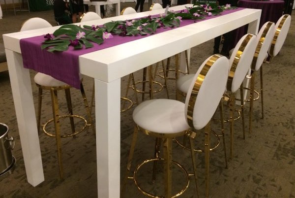 Table - Parsons cocktail + white & gold bar stools 7