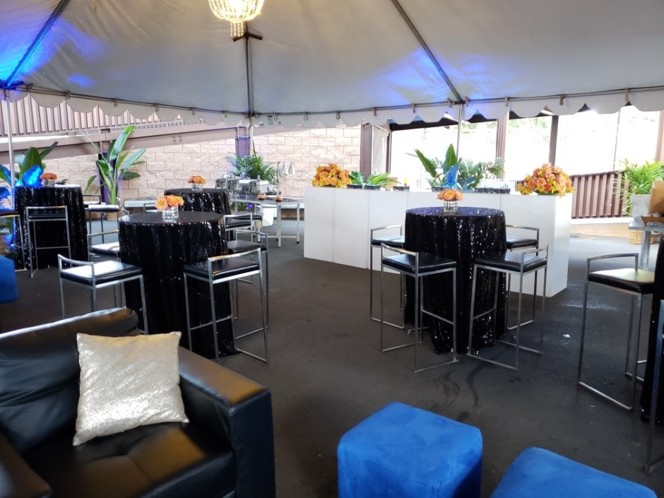 Table and Chair Rentals in Oahu- With Blue
